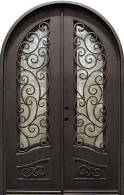 "74"" x 110"" Grecian Radius Top Iron Prehung Double Door Unit"