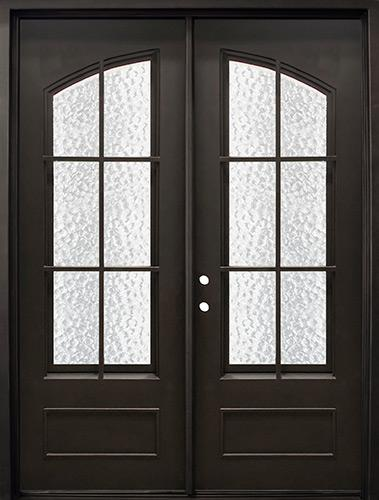 """74"""" x 97"""" Arched Tiffany Iron Prehung Double Door Unit"""