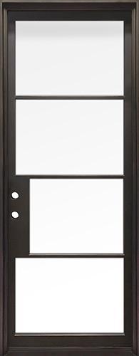 """42"""" x 97"""" Modern 4-Lite Iron Prehung Door Unit"""