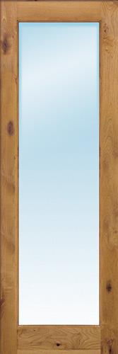 "Exterior 8'0"" 1-Lite Low-E Knotty Alder Wood Door Slab"