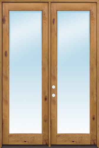 """Exterior 8'0"""" 1-Lite Low-E Knotty Alder Wood Door French Unit"""