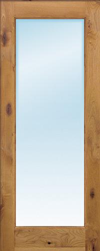 "Exterior 6'8"" 1-Lite Low-E Knotty Alder Wood Door Slab"