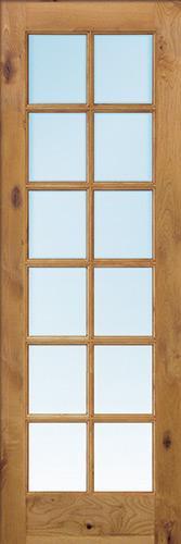 """Exterior 8'0"""" 12-Lite TDL Low-E Knotty Alder Wood Door Slab"""