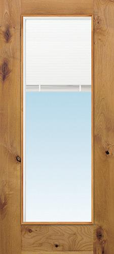 Full Mini-blind Low-E Knotty Alder Wood Door Slab