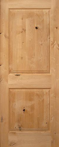 "Exterior 6'8"" 2-Panel Square Top Knotty Alder Wood Door Slab"