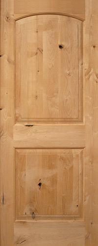 "Exterior 6'8"" 2-Panel Arch Knotty Alder Wood Door Slab"
