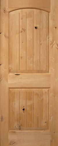 "Exterior 6'8"" 2-Panel Arch V-Groove Knotty Alder Wood Door Slab"