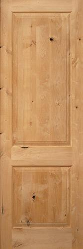 "Exterior 8'0"" 2-Panel Square Top Knotty Alder Wood Door Slab"