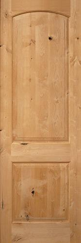 "Exterior 8'0"" 2-Panel Arch Knotty Alder Wood Door Slab"