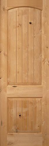 "Exterior 8'0"" 2-Panel Arch V-Groove Knotty Alder Wood Door Slab"
