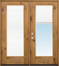 Full Mini-blind Knotty Alder Wood Double Door Unit