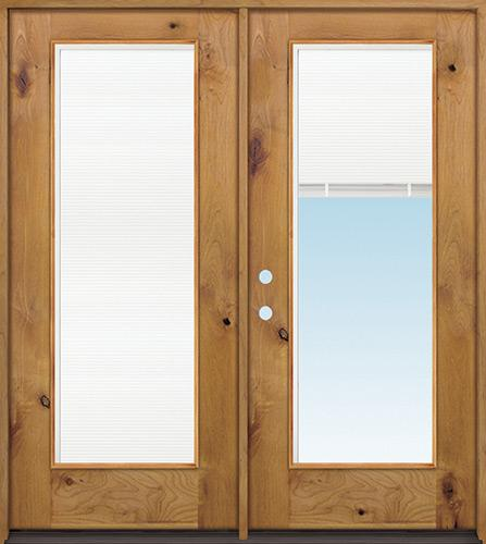 Full Mini-blind Knotty Alder Wood Double Door Unit