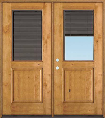 Slate Half Mini-blind Knotty Alder Wood Double Door Unit