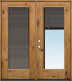 Slate Full Mini-blind Knotty Alder Wood Double Door Unit