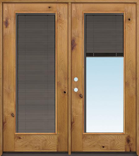 Slate Full Mini-blind Knotty Alder Wood Double Door Unit