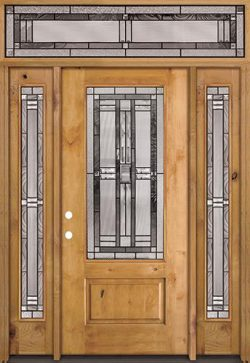 3/4 Lite Knotty Alder Wood Door Unit with Transom #277