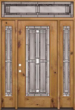 Full Lite Knotty Alder Wood Door Unit with Transom #297
