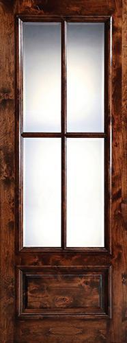 "Preston 36"" x 8'0"" 4-Lite Low-E Knotty Alder Wood Door Slab"