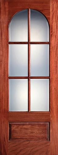 "Preston 36"" x 8'0"" 6-Lite Radius Low-E Mahogany Wood Door Slab"