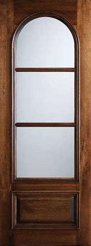 """Preston 36"""" x 8'0"""" 3-Lite Circle Low-E Mahogany Wood Door Slab"""