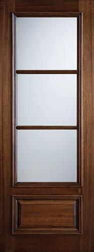 """Preston 36"""" x 8'0"""" 3-Lite Low-E Mahogany Wood Door Slab"""
