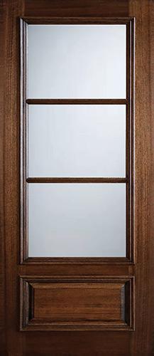 """Preston 42"""" x 8'0"""" 3-Lite Low-E Mahogany Wood Door Slab"""
