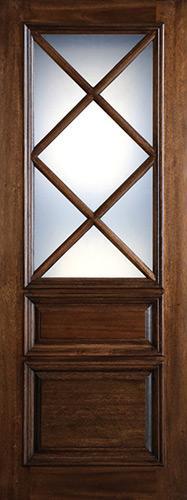 """Preston 36"""" x 8'0"""" 7-Lite Low-E Mahogany Wood Door Slab"""