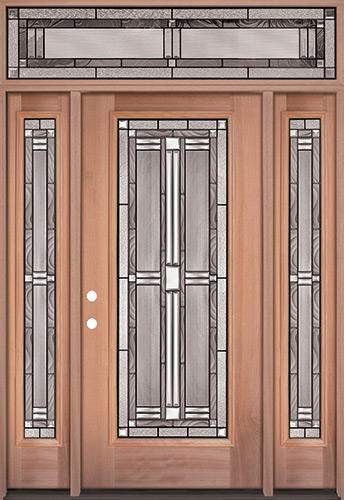 Full Lite Mahogany Wood Door Unit with Transom #297