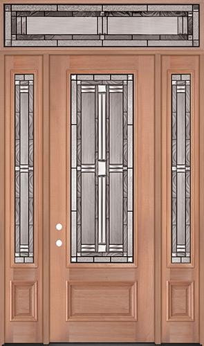 "8'0"" Tall 3/4 Lite Mahogany Wood Door Unit with Transom #297"