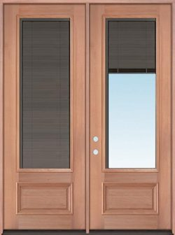 "Slate 8'0"" Tall 3/4 Mini-blind Mahogany Wood Double Door Unit"