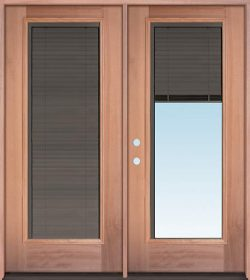 Slate Full Mini-blind Mahogany Wood Double Door Unit