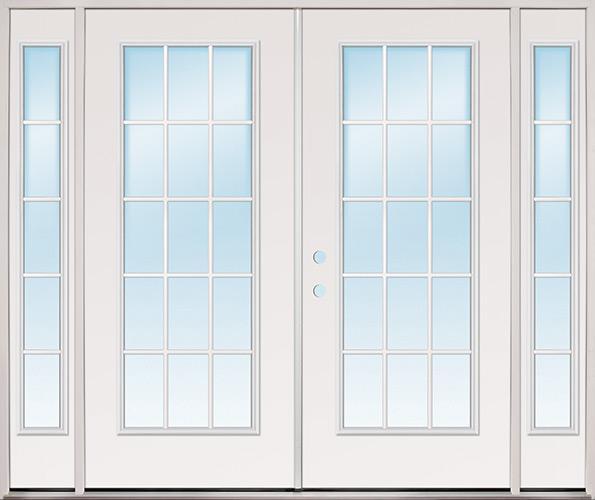 """8'0"""" Wide 15-Lite Fiberglass Patio Prehung Double Door Unit with Sidelites"""