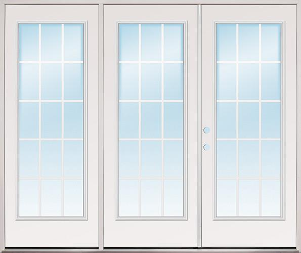 "8'0"" Wide 15-Lite GBG Fiberglass Patio Prehung Triple Door Unit"