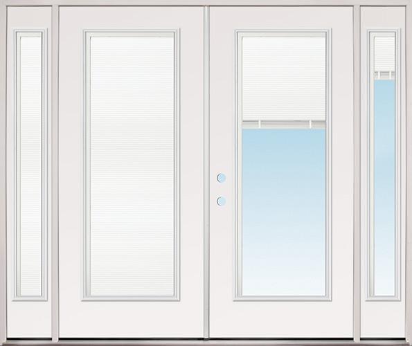 """8'0"""" Wide Miniblind Full Lite Fiberglass Patio Prehung Double Door Unit with Sidelites"""