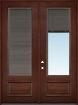 "Slate 8'0"" Tall 3/4 Mini-blind Pre-finished Mahogany Wood Double Door Unit"