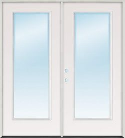 Full Lite Fiberglass Patio Prehung Double Door Unit