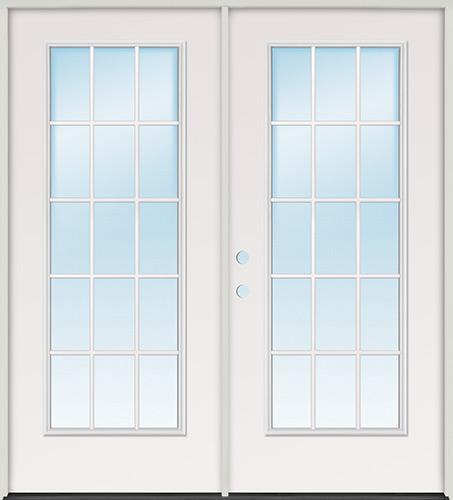 15-Lite Fiberglass Patio Prehung Double Door Unit