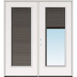 Slate Miniblind Full Lite Fiberglass Patio Prehung Double Door Unit