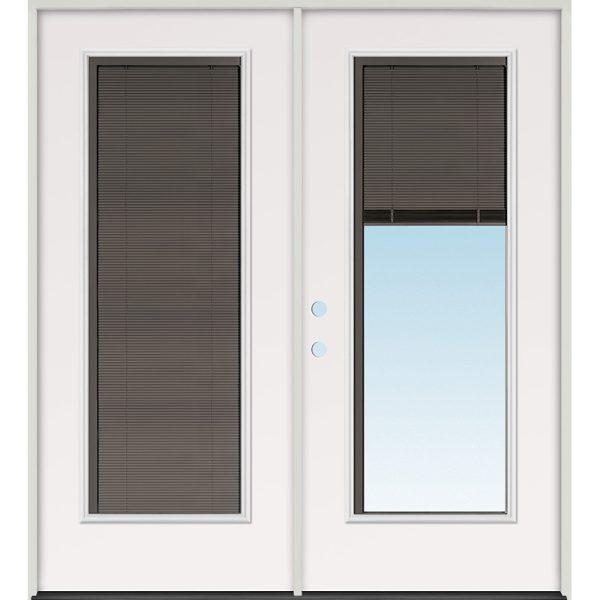 Slate Miniblind Full Lite Steel Patio Prehung Double Door Unit