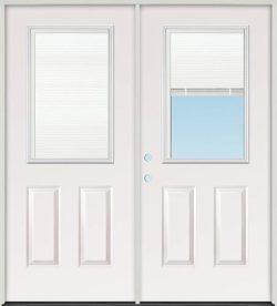 Miniblind Half Lite Fiberglass Patio Prehung Double Door Unit