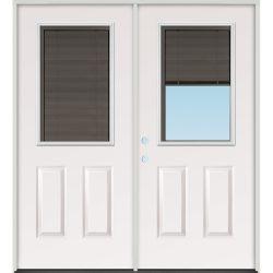 Slate Miniblind Half Lite Fiberglass Patio Prehung Double Door Unit