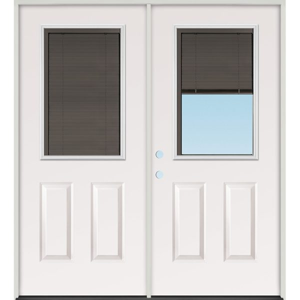 Slate Miniblind Half Lite Steel Patio Prehung Double Door Unit