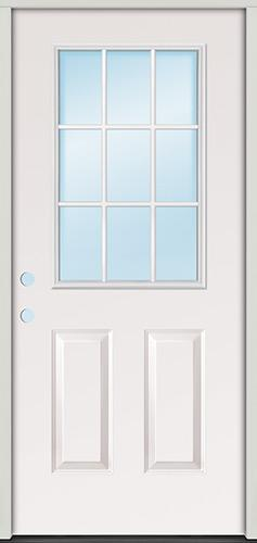 9-Lite Fiberglass Prehung Door Unit