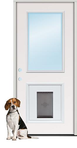 Half Lite Fiberglass Prehung Door Unit with Pet Door Insert