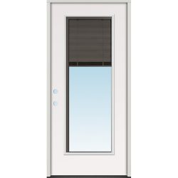 Slate Miniblind Full Lite Fiberglass Prehung Door Unit