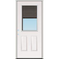 Slate Miniblind Half Lite Fiberglass Prehung Door Unit