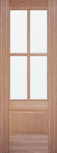 4-Lite Low-E Mahogany Wood Door Slab