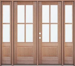 4-Lite Low-E Mahogany Prehung Wood Double Door Unit with Sidelites
