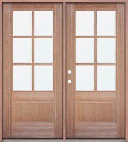 6-Lite Low-E Mahogany Prehung Wood Double Door Unit