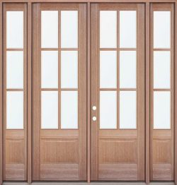 """8'0"""" Tall 6-Lite Low-E Mahogany Prehung Wood Double Door Unit with Sidelites"""